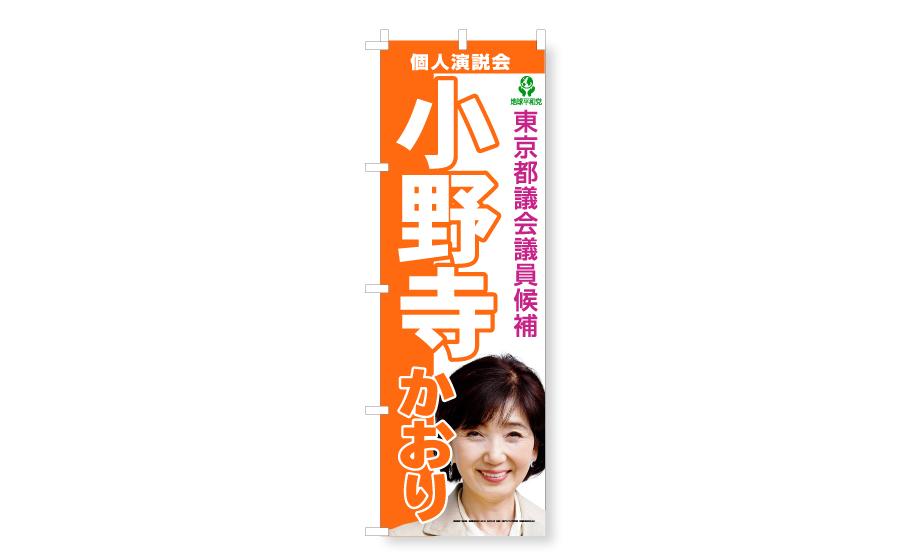女性議員候補の個人演説会のぼりのイメージ