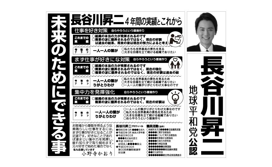 白黒で制作された男性議員候補の選挙公報のイメージ