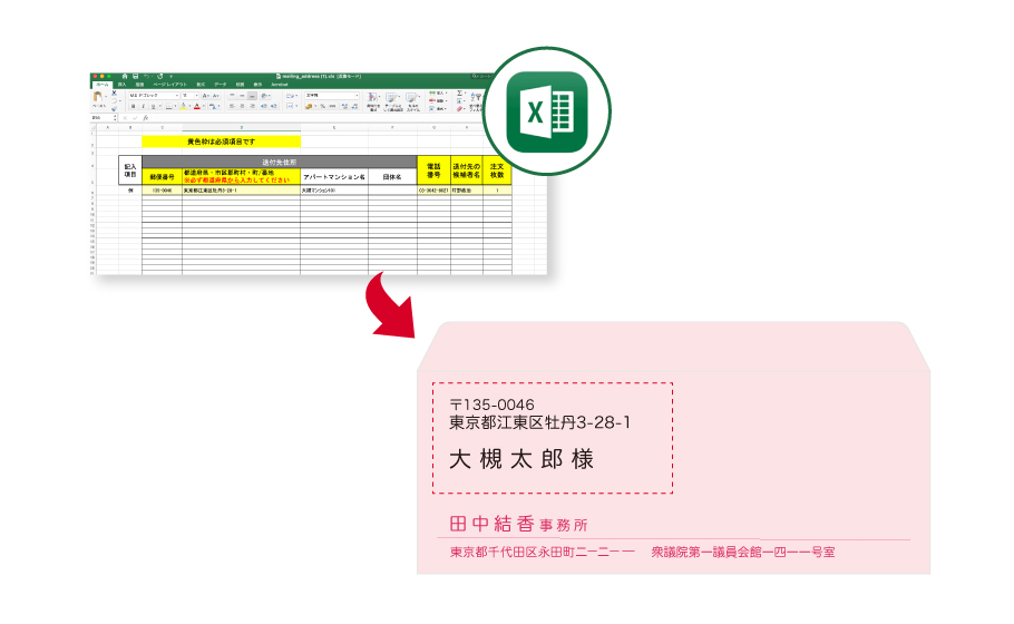 エクセルの名簿データから住所や宛名を印刷したイメージ